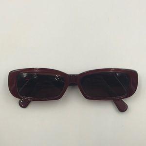 Vintage Anne Klein Red Rectangle Sunglasses Frames